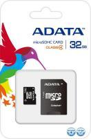 Карта памяти A-data microSDHC (Class 4) 32GB + SD  адаптер (AUSDH32GCL4-RA1) -