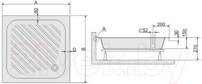 Душевой поддон Sanplast B/CL 80x80x15 (белый)