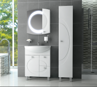 Шкаф-пенал для ванной Ванланд Монако 1 (белый, левый) -