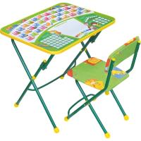 Комплект мебели с детским столом Ника КУ1/13 Первоклашка. На зеленом фоне -