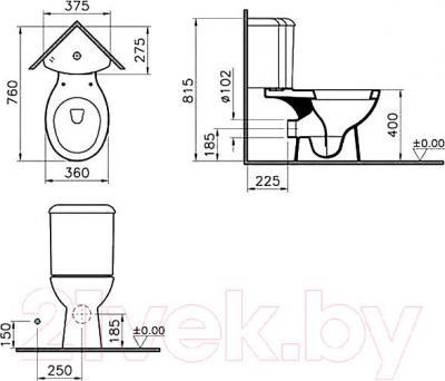 Унитаз напольный VitrA Arkitekt / 9754B003-7200