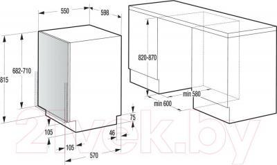 Посудомоечная машина Gorenje GV61211 - схема встраивания