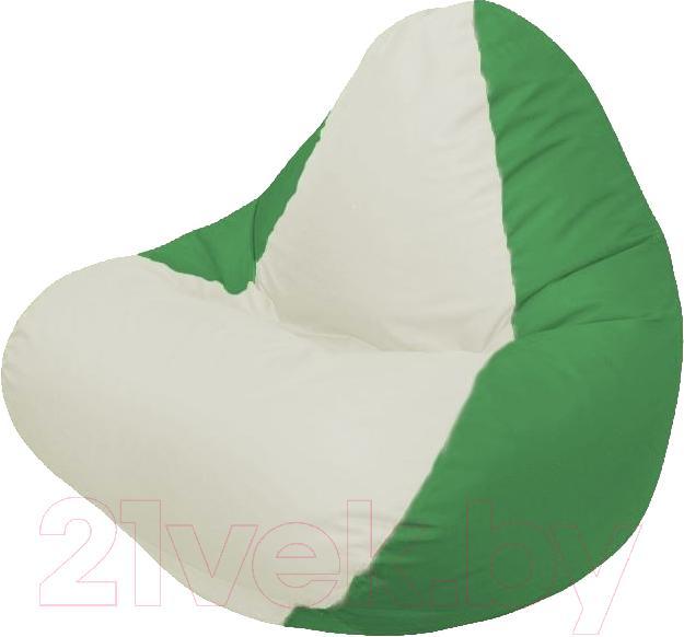 Купить Бескаркасное кресло Flagman, Relax Г4.1-004 (белый/зеленый), Беларусь, оксфорд