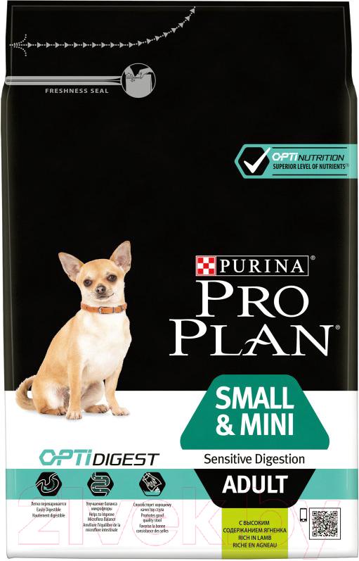 Купить Корм для собак Pro Plan, Adult Small & Mini Sensitive Digestion с ягненком и рисом (3кг), Франция