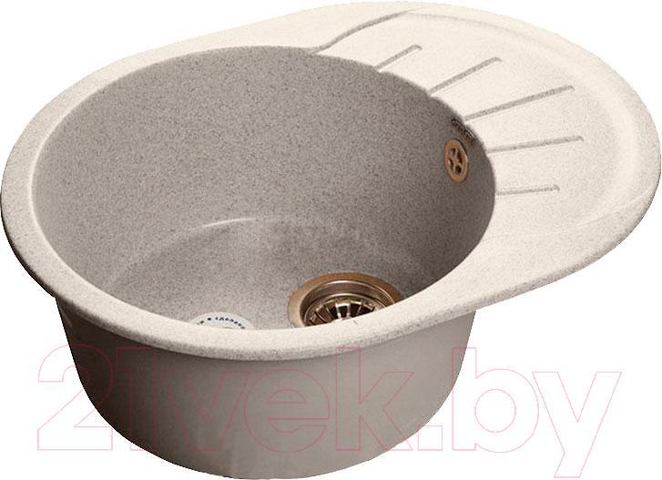 Купить Мойка кухонная GranFest, Rondo GF-R580L (серый), Россия, искусственный мрамор