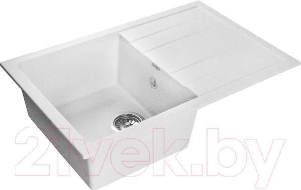 Купить Мойка кухонная GranFest, Quadro GF-Q780L (белый), Россия, искусственный мрамор