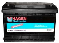 Автомобильный аккумулятор Hagen 57412 (74 А/ч) -