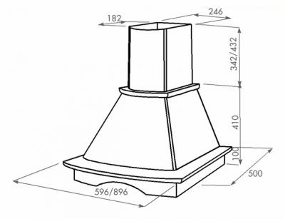 Вытяжка купольная Zorg Technology Паво (Tempo) 1000 (90, дерево) - схема