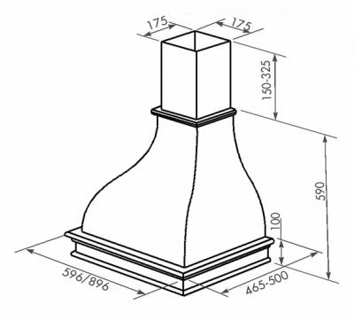 Вытяжка купольная Zorg Technology Соло (Solo) 1000 (90, дерево) - схема