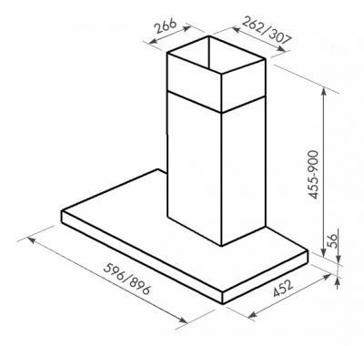 Вытяжка Т-образная Zorg Technology Стелс (Stels) 750 (90, Matt Stainless Steel-White) - схема