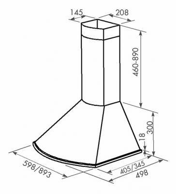 Вытяжка купольная Zorg Technology Лео E (Bora) 1000 (60, нержавейка матовая) - схема