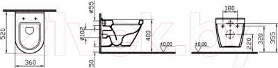 Унитаз подвесной VitrA S50 / 5318B003-6039 - технический чертеж