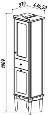 Шкаф-пенал для ванной Belux Верди П40-01 (37, слоновая кость/патина золото, левый)