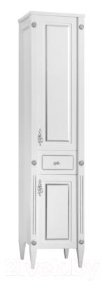 Шкаф-пенал для ванной Belux Империя П 30-01 (64, белый матовый/патина серебро)