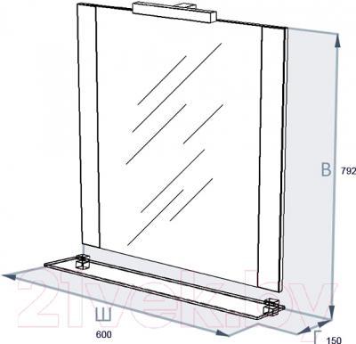 Зеркало Triton Ника 60 (004.42.0600.001.01.01 U) - технический чертеж