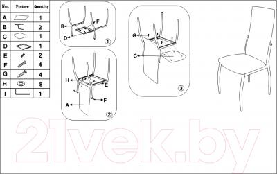 Стул Седия Denver (хром/черный) - инструкция по сборке