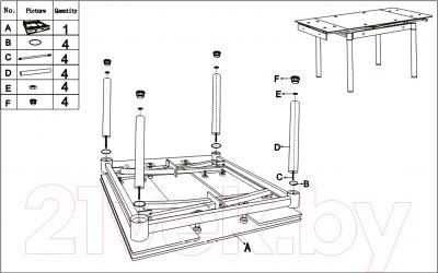 Обеденный стол Седия Karlota 66 (кремовый) - инструкция по монтажу