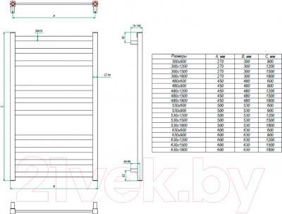 Полотенцесушитель водяной Grota Vento 150x63 - схема