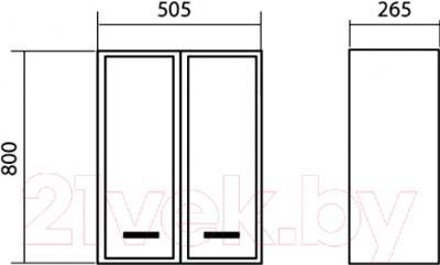 Шкаф-полупенал для ванной Аква Родос Декор 50 / ОР0000563 - размеры