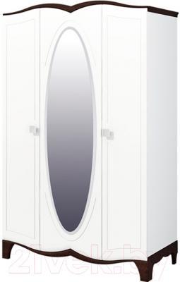 Шкаф Мебель-Неман Тиффани МН-122-03 (белый полуглянец/венге)