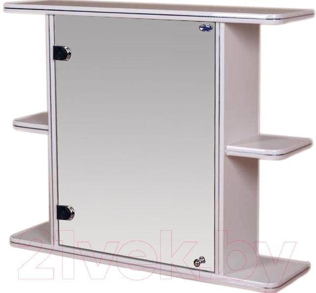 Купить Шкаф с зеркалом для ванной Гамма, 15 (белый, левый), Беларусь