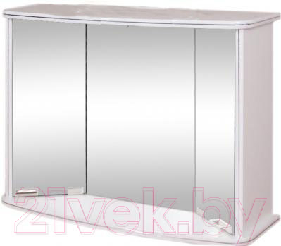 Купить Шкаф с зеркалом для ванной Гамма, 19 (белый), Беларусь