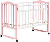 Детская кроватка Bambini М.01.10.09 (белый/розовый) -