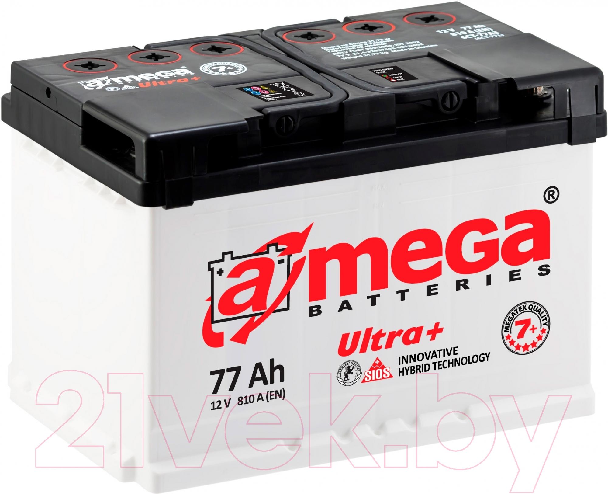 Купить Автомобильный аккумулятор A-mega, Ultra Plus 6СТ-77 R (77 А/ч), Украина