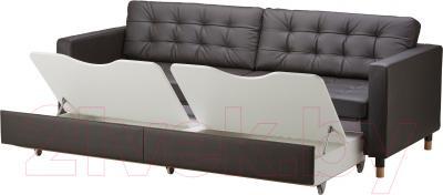 Диван Ikea Ландскруна 191.669.86 (темно-коричневый/дерево) - ящики для хранения