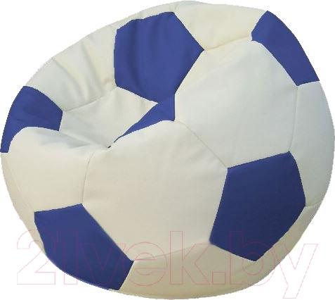 Бескаркасное кресло Flagman, Мяч Стандарт М1.3-1003 (белый/синий), Беларусь, экокожа  - купить со скидкой