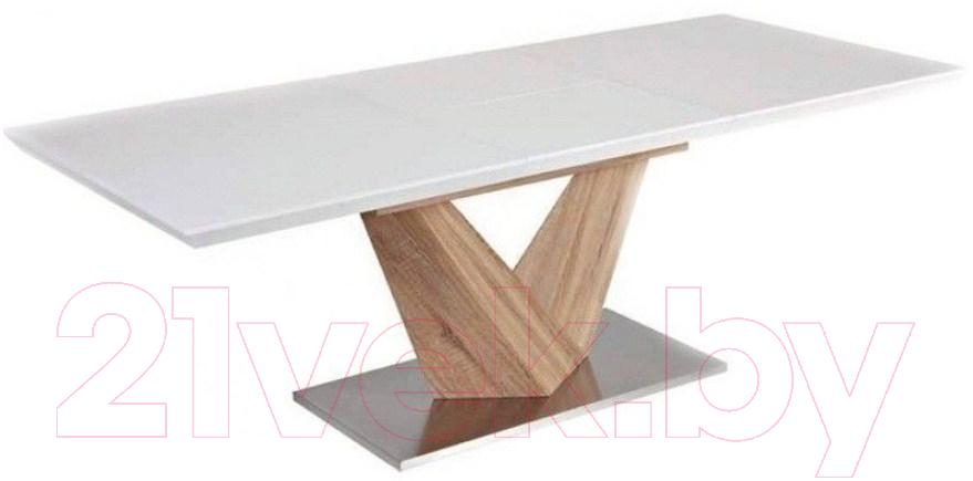 Обеденный стол Signal, Alaras 160-220x90 (белый/дуб сонома), Польша  - купить со скидкой