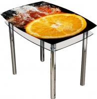 Обеденный стол Artglass Comfort Pole Апельсин (хром) -