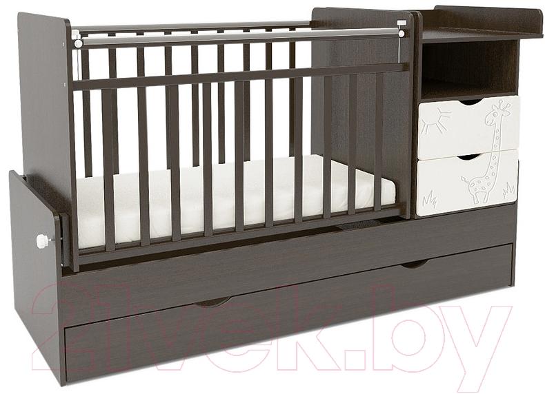 Купить Детская кровать-трансформер СКВ, 550038-1 (жираф, венге/белый), Россия, массив дерева