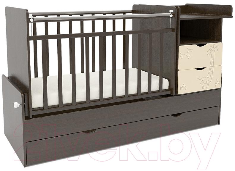 Купить Детская кровать-трансформер СКВ, 550038-9 (жираф, венге/бежевый), Россия, массив дерева