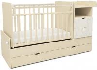 Детская кровать-трансформер СКВ 550039-1 (жираф, бежевый/белый) -