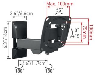 Кронштейн для телевизора Barkan E130.B - габаритные размеры