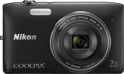 Компактный фотоаппарат Nikon Coolpix S3500 Black - вид спереди