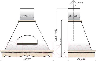 Вытяжка купольная Elikor Бельведер 60П-650-П3Г (бежевый/дуб неокрашенный)