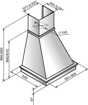 Вытяжка купольная Elikor Вилла 60 (бежевый/дуб) - схема