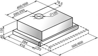 Вытяжка телескопическая Elikor Интегра 50П-400-В2Л (белый) - схема