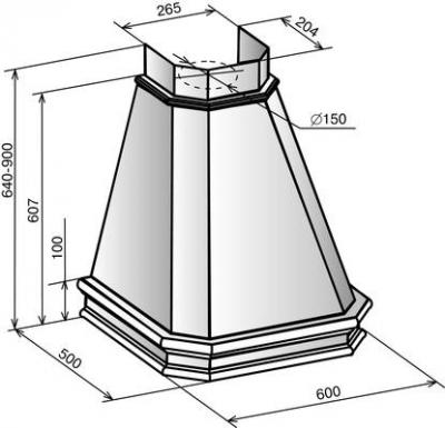 Вытяжка купольная Elikor Пергола 60П-650-П3Л (бежевый/дуб неокрашенный) - схема