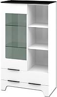 Шкаф с витриной Мебель-Неман Верона МН-128-12 (белый глянец) -