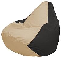 Бескаркасное кресло Flagman Груша Макси Г2.1-130 (светло-бежевый/черный) -