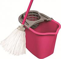 Набор для уборки пола York Set с прямоугольным ведром (10л, розовый) -