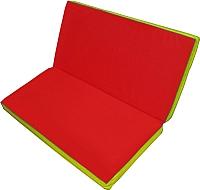 Гимнастический мат No Brand Складной 1x1x0.1м (красный/желтый) -