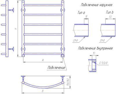 """Полотенцесушитель водяной Gloss & Reiter Raduga Л.50x60.Д6 (1"""") (с нижним подключением) - схема"""