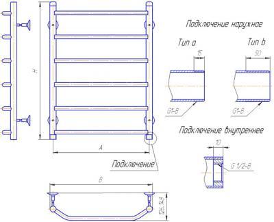 """Полотенцесушитель водяной Gloss & Reiter Terra Л.50x60.Т6 (1"""") (с нижним подключением) - схема"""