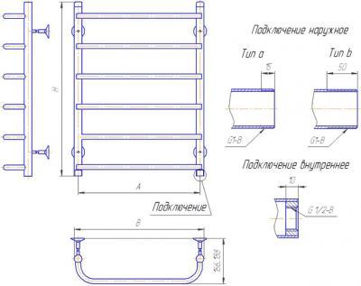 """Полотенцесушитель водяной Gloss & Reiter Skif Л.50x80.С8 (1"""") - схема"""