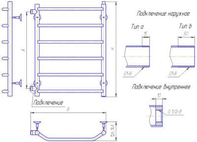 """Полотенцесушитель водяной Gloss & Reiter Terra LeRi ЛБ.50x60.Т6 (1"""") - схема"""