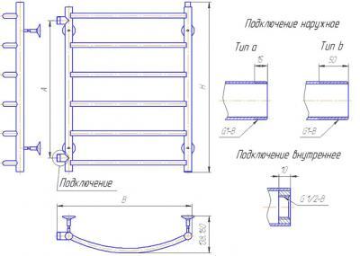 """Полотенцесушитель водяной Gloss & Reiter Raduga Л.50x70.Д6 (1"""") - схема"""